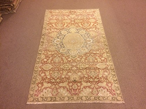 3.4x5.10 Feet Medallion Design Soft Pink And Red Faded Pink Rug Silk On Cotton Rug Pale Rug Rose Pink Shiny Rug Rose Color Shiny Carpet Handmade Carpet Handmade Rug Code:F685