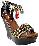 Link Gift 58 Womens Embroidered Rhinestone Wedge Heel Pom Pom Sandals Black 9