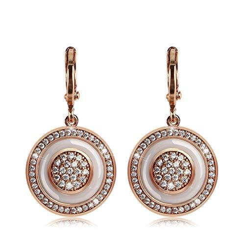 Z Crystal Hoop Earrings for Women 585 Rose Gold Healthy Ceramic Female Earrings Wedding Jewelry Gift ()