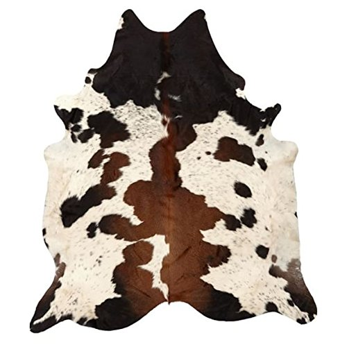 Pure Brown Tricolor Cowhide Rug Black Brown and White Luxurious Cow Skin Tri Color (5 X 8) by MeshNew