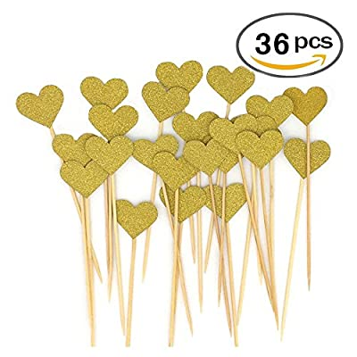 36pcs Heart Cupcake Toppers Twinkle Snacks Decor DIY Mini Glitter Birthday Cake Decoration Picks Wedding Bridal Baby Shower Party Suplliers