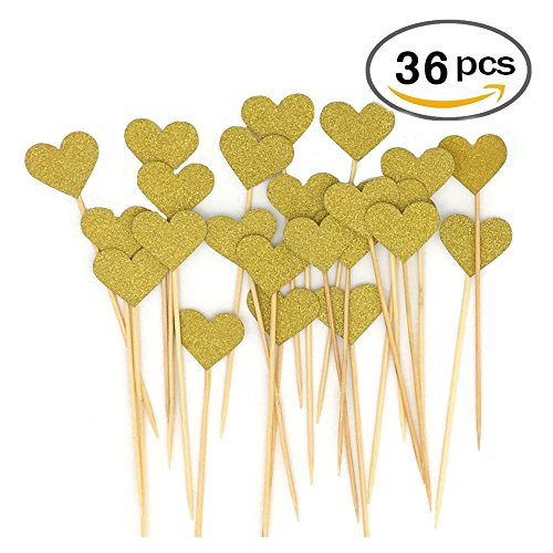 36pcs Heart Cupcake Toppers Twinkle Gold Snacks Decor DIY Mini Glitter Birthday Cake Decoration Picks Wedding Bridal Baby Shower Party Suplliers