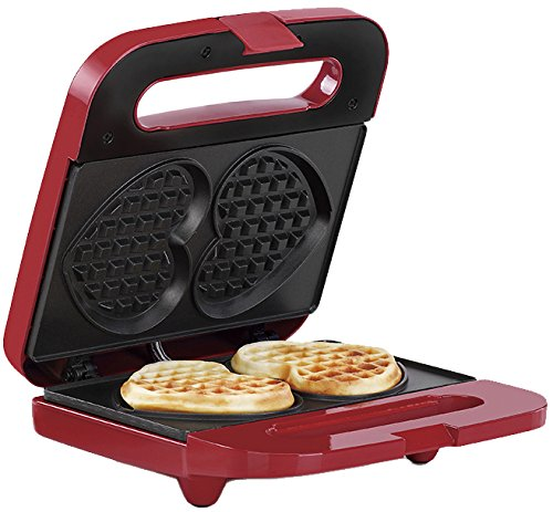 Holstein Housewares HF-09041R Heart Waffle Maker, Red/Stainless Steel