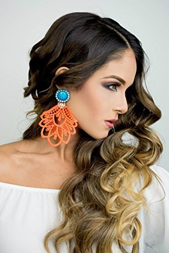Amazon neon dangle earrings orange chandelier earrings long neon dangle earrings orange chandelier earrings long earrings fashion accessories handmade earrings mozeypictures Image collections