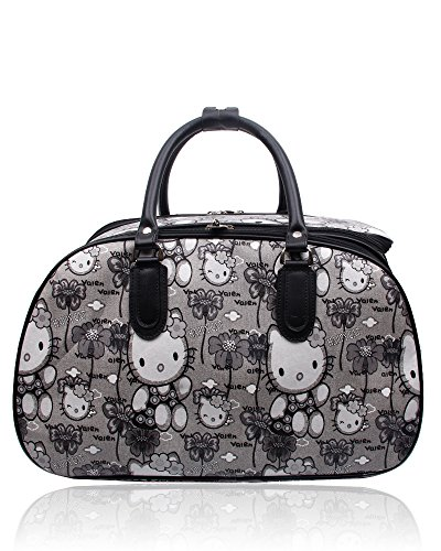 Bag on Luggage Foxlady Suitcase Cartoon Carry Unisex Grey Hello Print Travel Kitty gnTTp0Hq