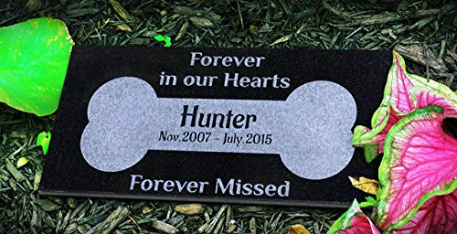 - Unique Dog Bone Personalized Black Granite Stone Pet Marker Headstone Garden Plaque Engraved with Customized Name Dates