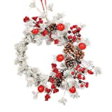 Lovewe Christmas Wreath Hanging,Window Decoration Door Bell Pine Cone Garland 55CM Red Fruit Christmas Decoratio