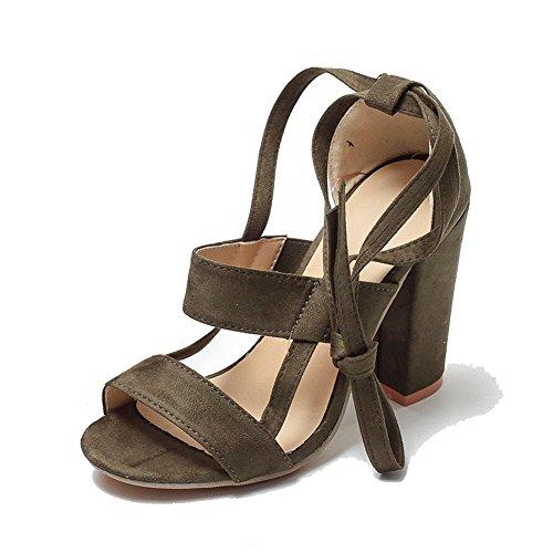 Green di grandi Straps Cross scamosciata con Summer caviglia Sandali Tacco pelle spesso cinturino alto in Explosions dimensioni donna XIE da alla qFR4x