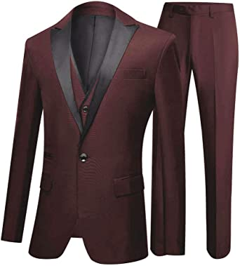 Mens Wedding Suits 3 Pieces One Button Groom Tuxedos Formal Business Suit Casual Suits