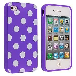Accessory Planet(TM) Dark Purple / White TPU Polka Dot Rubber Design Skin Case Cover for Apple iPhone 4 / 4S