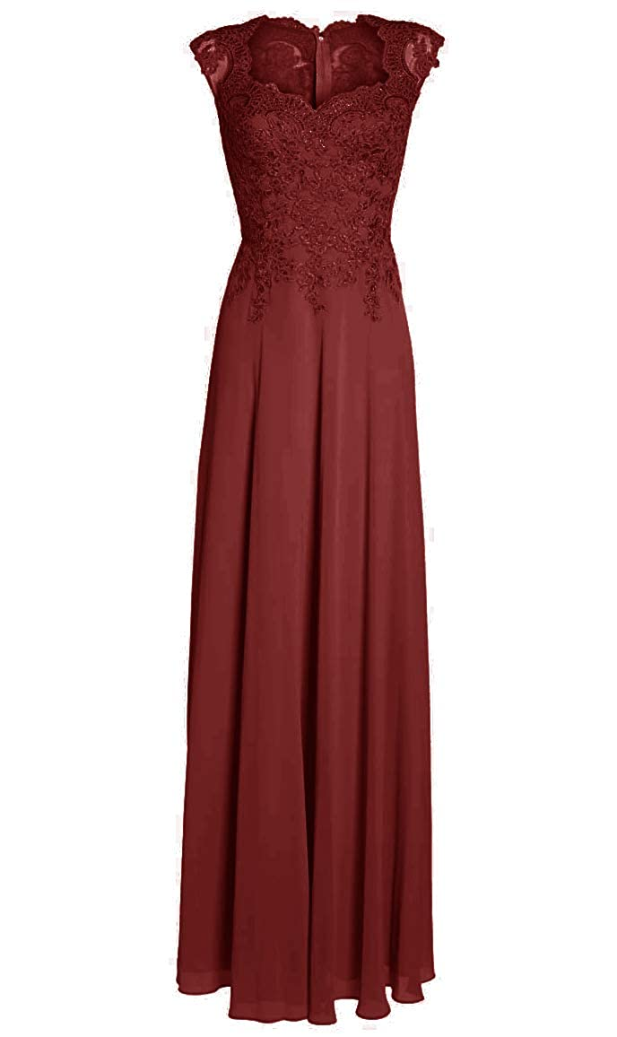 Burgundy Mother of The Bride Dresses with Sleeves Long Evening Gowns Plus Size Lace Mother Dress