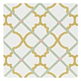 Sweet Jojo Designs Ava Mint Coral White and Gold Trellis Fabric Memory/Memo Photo Bulletin Board