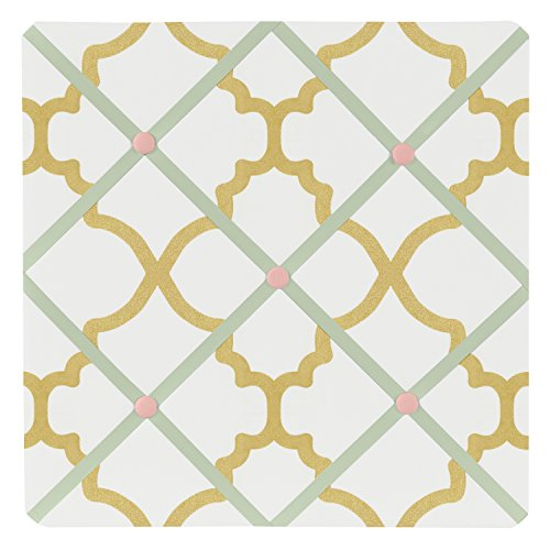 Sweet Jojo Designs Ava Mint Coral White and Gold Trellis Fabric Memory/Memo Photo Bulletin Board by Sweet Jojo Designs