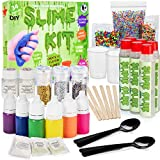 DIY Slime Kit - Ultimate 34 Piece Slime kit for Girls & Boys - Make 12 batches of Clear, Colored, Fluffy, Glitter, Unicorn, Cloud, Glow Slime & more! - #1 Fun & Educational DIY Slime Making Kit!