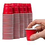 Disposable Shot Glasses - 120 Mini Cups Red Solo Party - Plastic Shot Cups - Jello Shots - Jager Bomb Cups - Beer Pong Cups - Perfect Size for Serving Condiments, Nuts and Samples
