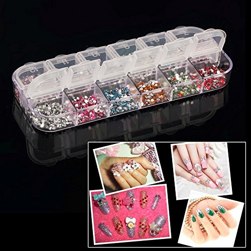 Nail Art Rhinestones For Nails - 100pcs Mix 12 Color Round Circle Beads Nail Art Rhinestones Glitters Manicure DIY Nail Art Gems Decoration - Nails Decoration