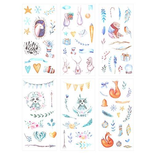 Qietingfengyin 3 Set(18 Sheet) Kawaii Cartoon Fairy Tale World Snowflake Gift Fox Bear Bird Rabbit Stationery Sticker Scrapbooking Diary Book Decorative Label DIY Craft Stickers (Fairy-Tale -