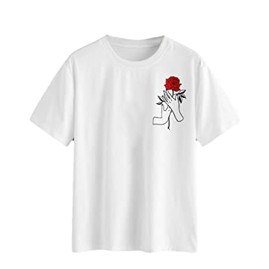 fee93ee20a317e Amazon.com  Leyorie Red Rose Print T-Shirt
