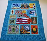Hawaiian Quilt Baby comforter, crib blanket, Wall Hanging, Hand Quilted and Machine Embroidered