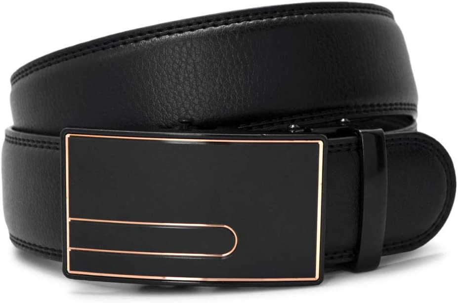 DENGDAI Mens Casual Leather Belt zinc Alloy Automatic Buckle Belt Length 110-130cm