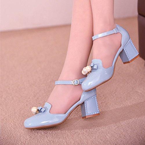 Medio Pie La La Talón 5 Grueso EU36 De Azul De Sandalias Cuero Estudiante Sintético PU Cabeza Zapatos De UK3 Verano Tamaño CN35 Confeccionado Talón De Color Patente CwxOvYZq