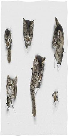 Candi-Shop Lindo Gato Gatito Rojo Pequeños Gatos atigrados Grises en Papel Blanco Agujero Que mira a escondidas Toalla de baño Suave Toallas de Mano absorbentes 27.5 * 15.7in: Amazon.es: Hogar