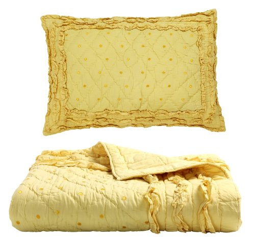 Be-you-tiful Home CC481YT Chelsea Yellow Twin Quilt Set with 1 Standard Sham (Chelsea Quilt)