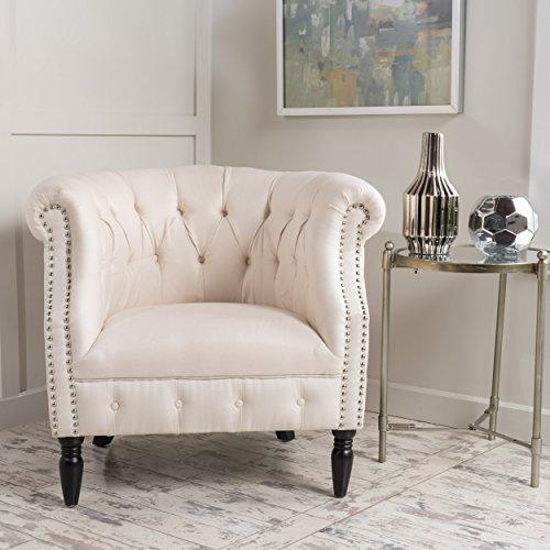 Akula Scroll Arm Fabric Club Chair (Beige)