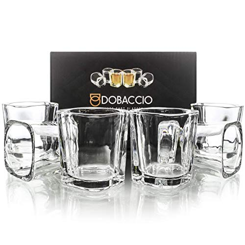 Square Shot Glasses for Whiskey, Brandy, Tequila. Shooting Drinking Glass, 2 oz. Set of 6