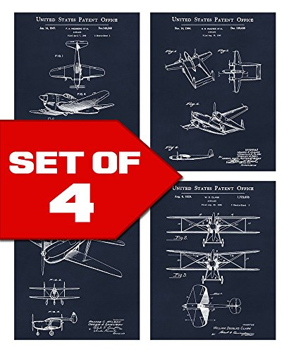 Aviation Poster Art (Wallables Navy Blue Vintage Airplane Patents Set! Four 8x10 Aviation Themed Mens Wall Decor Art Prints for Office, Home, Living Room, Bachelor Pad or Barbershop Decoration! Designed exclusively for)