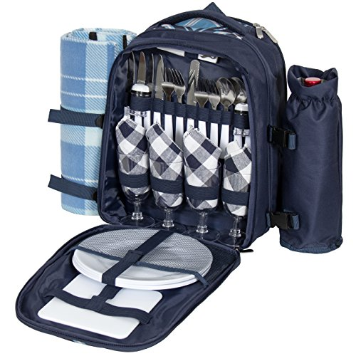 Best Choice Products 4 Person Insulated Picnic Bag Set W/ Blanket, Flatware, Plates, Glasses- Blue
