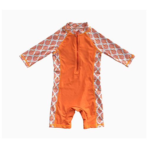 Uv Protection Babies - Bonverano TM Kids UPF 50+ Sun Protection S/S One Piece Zip Sun Suit with Sun Hat (3-6 Months, Orange Flowers)