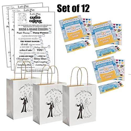 Kids Wedding Activities Set - Kids Wedding Coloring Books with Stickers Crayons Individually Packaged (12), Kids Wedding Favor Bags (12), Kids Wedding Scavenger Hunt Sheets (12) Set of 12