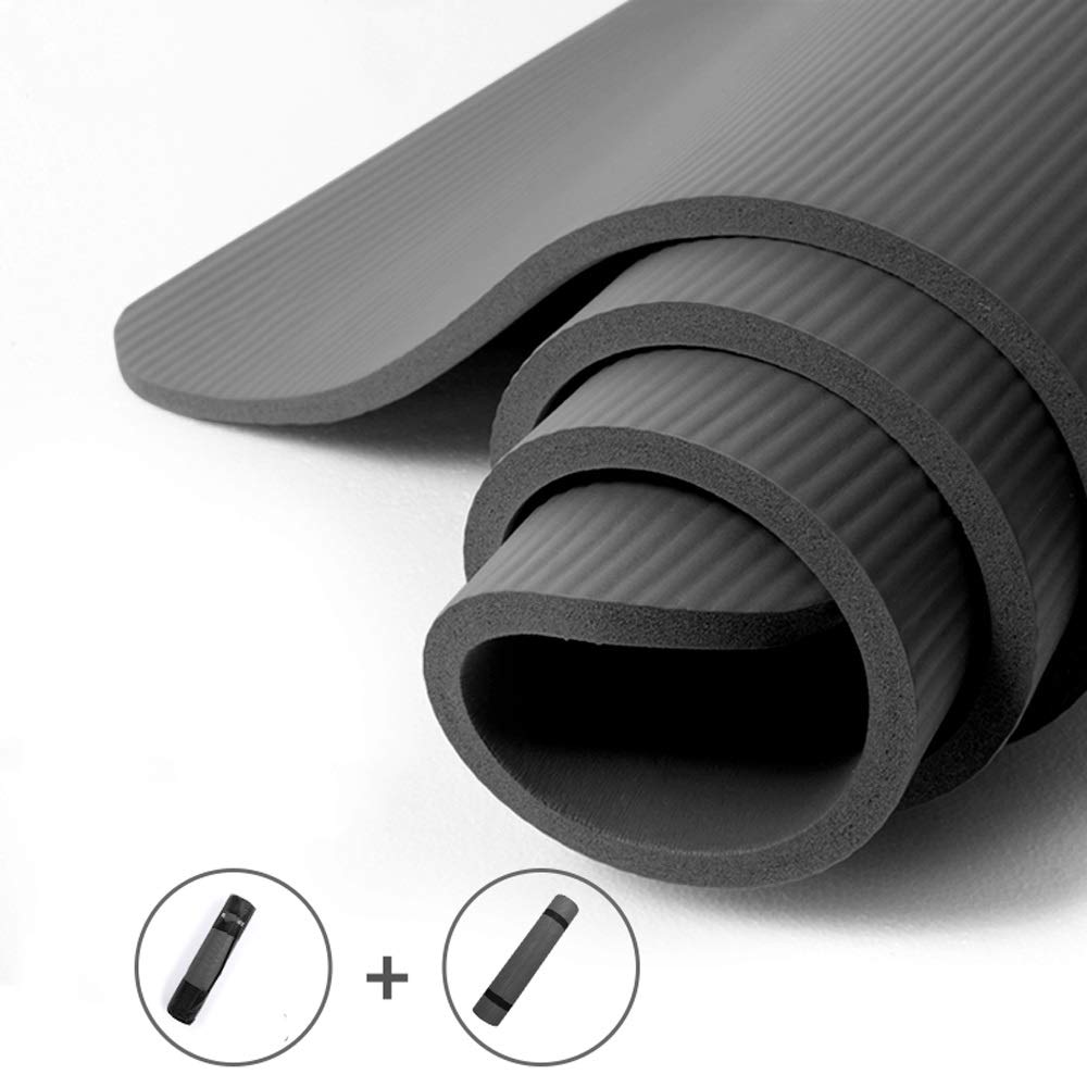 XUMINGYJD Men's Widened Yoga mat nbr Non-Slip Fitness mat Children's Dance mat Thickening 15mm Length 185cm90cm Home mat Sports Pilates (Color : Solid Color, Size : Thickness15mm)