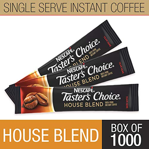 (Nescafe Instant Coffee, Ground Coffee, Single Serve, Light Roast, Tasters Choice, 1.5 g Packets (Box of 1000))