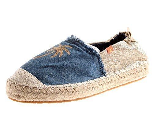 KimKay lässige Espandrille Slipper Sommerschuhe Schuhe Damen denim 2135 Denim