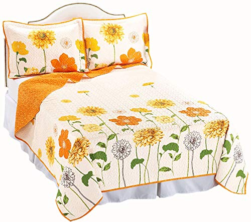 Yellow and Orange Poppy Peony Flower Bloom 100% Cotton Reversible Vermicelli Quilting Quilt & SHAM Set (3pc Full/Queen Size) ()