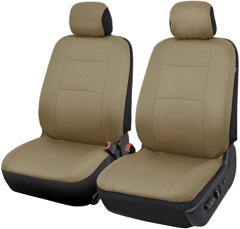 Sleek /& Stylish Beige BDK OS-334-BG Tan Trim Black Car Seat Covers Full 9 Piece Set Split Option Bench 5 Headrests Front /& Rear Bench