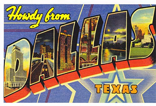 STATES9DAL - HOWDY FROM DALLAS TEXAS [ ONE Reprint vintage Large Letter name postcard (ca. 1930's-1940's) - A U.S. State POSTCARD from HibiscusExpress