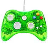 Xbox 360 Controller GC20 Transparent LED Controller Dual Vibration Wired Controller for Microsoft Xbox 360/PC(Green)