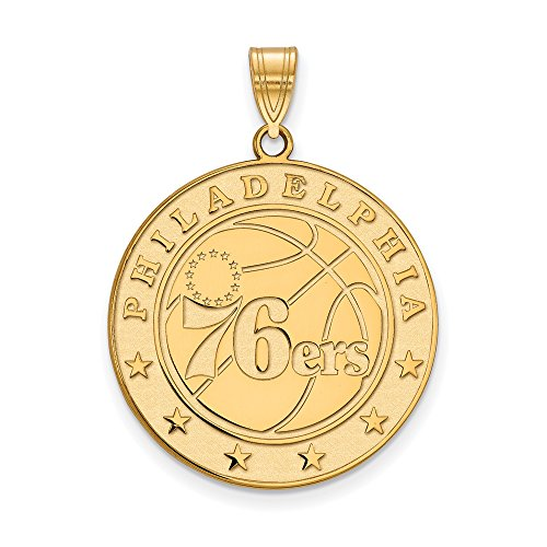 NBA Philadelphia 76ers Xlarge Logo Pendant in 14K Yellow Gold by LogoArt
