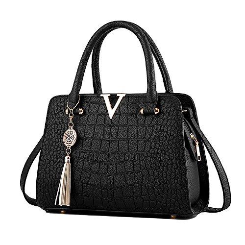 Renhong Leather Handbag Ladies Fashion Bag Crocodile Pattern Shoulder Diagonal Black Tassel Pendant Pink Red Blue, Blue-28 * 13 * 20cm Black