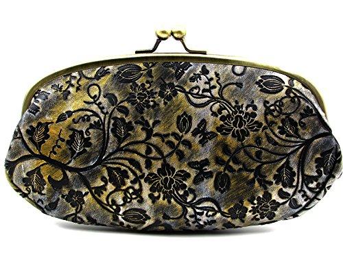 Embossed Evening Bag - ArtsEye Women's Embossed Genuine Leather Evening Bag Clutch Handbag (Black flowers)