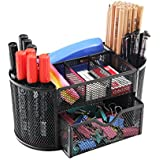 PAG Office Supplies Mesh Desk Organizer Pen Holder Accessories Storage Caddy with Drawer, 9 Compartments, Black
