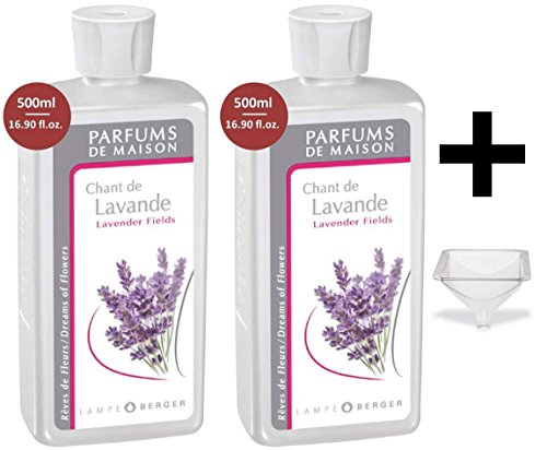 Lampe Berger Fragrance - Lavender Fields - 500ml/16.9 fl.oz. 2 Pack with FREE Funnel (Lavender Lamp Oil)