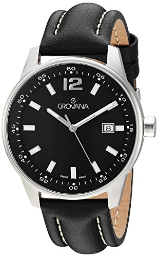 Grovana Men's 'Sport' Swiss Quartz Stainless Steel and Leather Casual Watch, Color:Black (Model: 7015-1537)