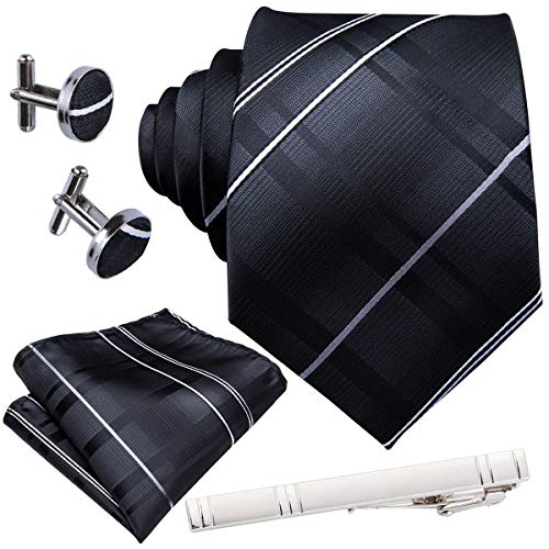 Barry.Wang Formal Stripe Ties for Men Silk Pocket Squares Cuff links Clips Black