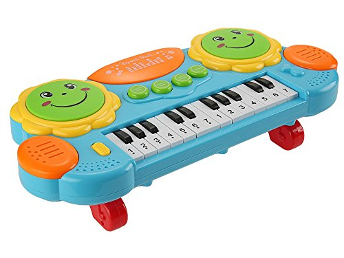 Baby Kids Early Educational Multifunction Development Music Instrument Cartoon Toy Battery Electronic Organ Keyboard Hand Beat Pat Drum Piano (Blue)