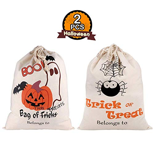 (PartyTalk 2pcs Halloween Trick or Treat Bags for Kids, Reusable Canvas Drawstring Tote Bag 17 x 14 Inch Spider Pumpkin Gift Sack Halloween Party)