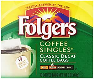 Folgers Coffee Singles Classic Decaf Coffee Bags, 3 Ounce (Pack of 12)